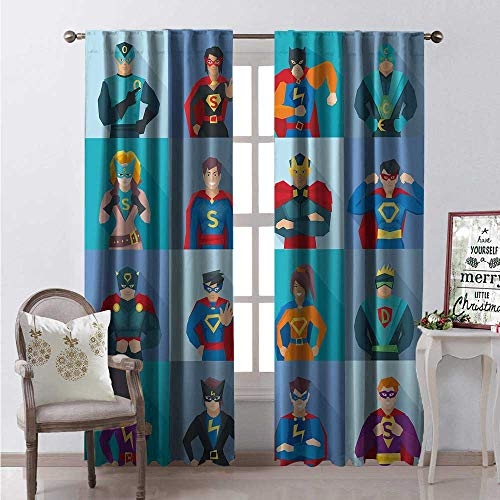 Hengshu Superhero Blackout Window Curtain Characters Supernatural Powers in Special Costumes Comic Strip Humor Print Customized Curtains W96 x L96 Multicolor]()