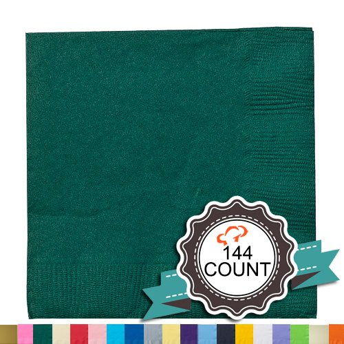 Tiger Chef 144-Pack Hunter Green, 9 7/8 inch 2-Ply Colored Paper Beverage Napkins - Wedding, Decorative, Party Napkins, Includes Napkin Folding Guide (144, Hunter Green)