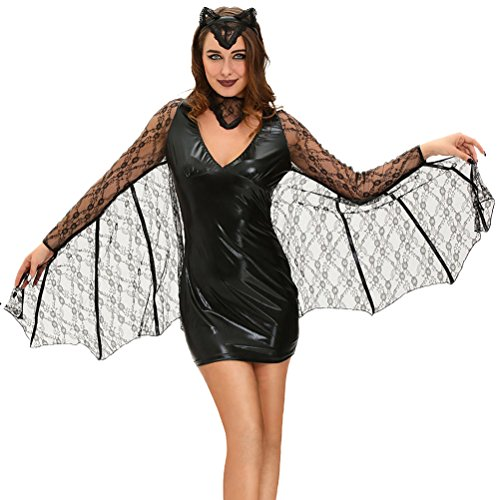 [YeeATZ Women's 3pcs Sexy Moonlight Bat Halloween Costume(Size,S)] (Homemade Scary Clown Halloween Costumes)