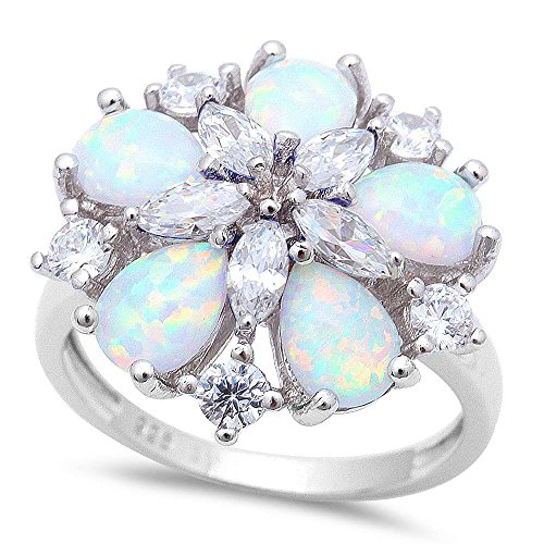 Oxford Diamond Co Gorgeous Lab Created White Fire Opal & Cubic Zirconia Flower .925 Sterling Silver Ring Sizes 9 SRO16905 (Created Opal Ring Flower Silver)