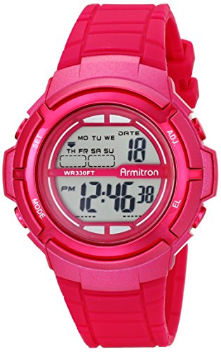 Armitron Sport Women's 45/7045MAG Digital Magenta-Resin Strap Watch