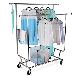 LANGRIA Collapsible Adjustable Double Rail Rolling Clothing Garment Drying Rack, Chrome Finish