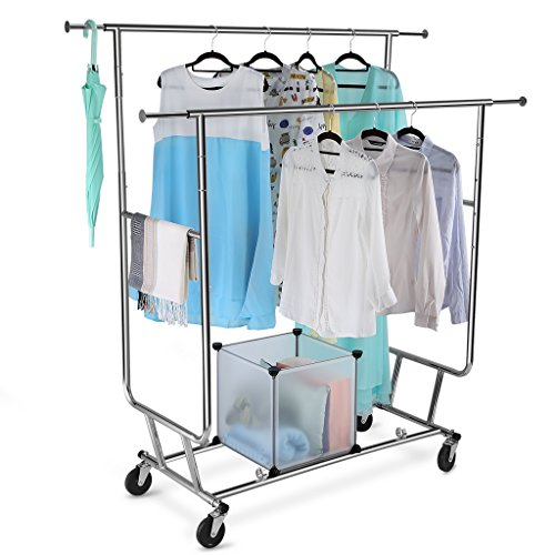 LANGRIA Collapsible Adjustable Double Rail Rolling Clothing Garment Drying Rack, Chrome Finish (Clothing Collapsible Rack)