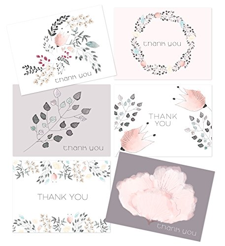 Thank You Greeting Cards Bulk by Luxye - 36 Assorted Quality Card Stock & Envelopes - 6 Cute Floral Designs - Ideal for Baby & Bridal Showers, Weddings, Anniversaries, Business & More - Made In USA