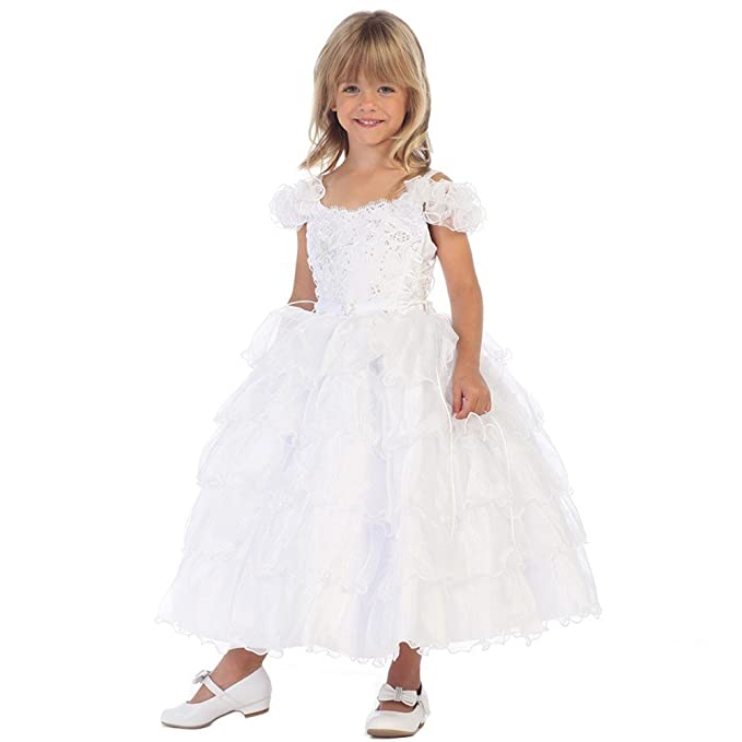 552e47c2e5b Angels Garment Baby Girls White Multi Ruffle Organza Flower Girl Dress 6-12M