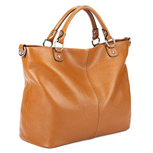Kattee Women's Soft Genuine Leather Tote Bag, Top Satchel Purses and Handbags Brown