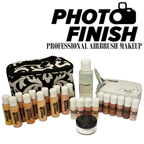 Photo Finish Professional Airbrush Cosmetic Makeup Deluxe System Kit / Fair to Tan Shades (Luminous) by Photo Finish