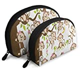 Makeup Bag Funny Monkey On Tree With Banana Handy Shell Beauty Bags Holder For Women