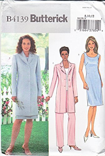 (UNCUT & OOP BUTTERICK B4139 MISSES' FITTED LONG JACKET, DRESS, PANTS, TOP SEWING PATTERN SIZES: 8, 10, 12)