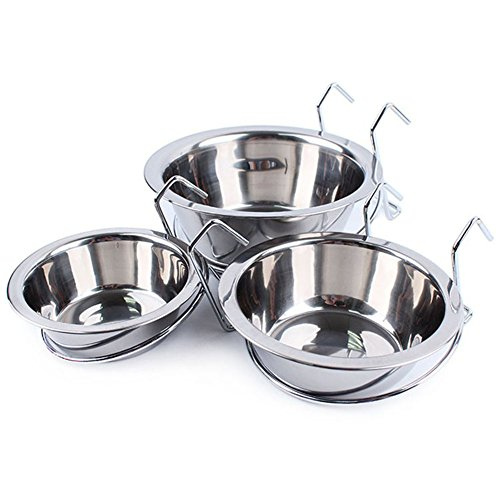 cheap Pet Dog Bowl Removable Pet Dog Bowl Stainless Steel Puppy Cat Cage Hanging Single Bowl Food Dish Feeder