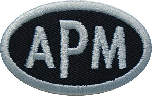 Custom Embroidered Oval Block Font Name Initial Monogram Iron On Applique Patch (2.5'' wide by 1.5'' high, Black Twill Fabric) by None