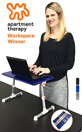 Stand Steady Traveler Folding Portable Standing Desk, Height Adjustable Laptop Bed Table, Adjustable Monitor Stand, or Children's Floor Table. Multi-functional. Apartment Therapy Award Winner! (Blue) by Stand Steady