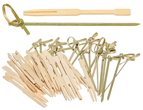 Prexware Bamboo Knot Skewers and Bamboo Forks Combo Pack, 100 4 Inch Knotted Skewers and 100 3.5 Inch Bamboo Party Forks
