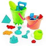 ThinkMax 27 pcs Beach Toy Set, Seaside Sand Castle Bucket Spade Shovel Rake Playset, Summer Outdoors...