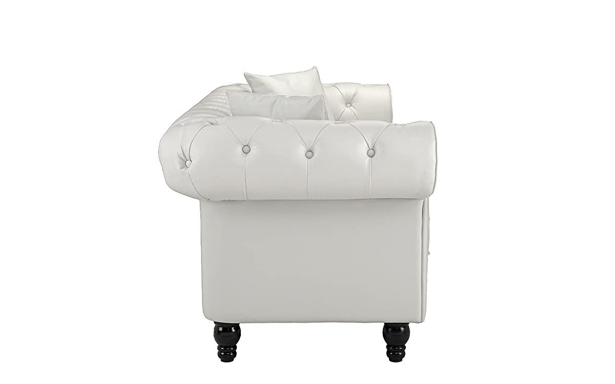 Divano Roma Furniture Classic Living Room Bonded Leather Scroll Arm Chesterfield Sofa (White)