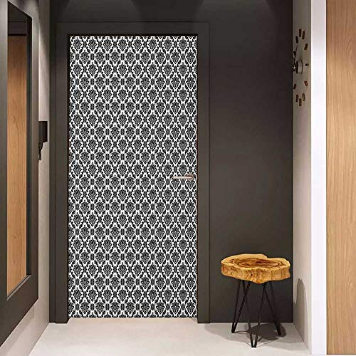 Onefzc Soliciting Sticker for Door Black and White Monochrome Flourishes with Venetian Design Details Repeating Scroll Mural Wallpaper W23.6 x H78.7 Black and White