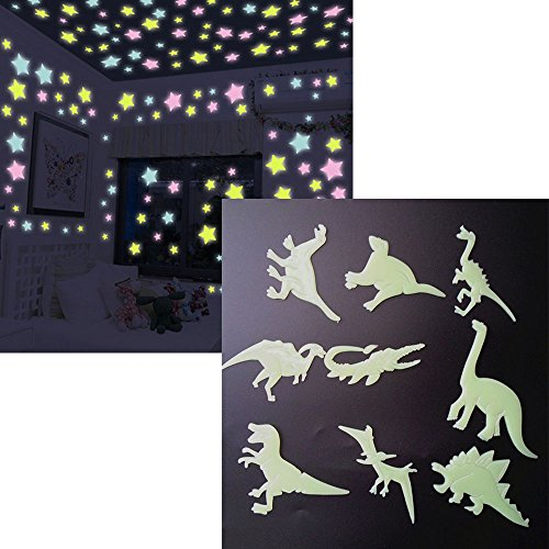 Luminous Wall Stickers Glow in the Dark Wall Decals 100pcs Stars and 9pcs Dinosaurs,for Kids Rooms Home Decor - Glow In The Dark Dinosaur