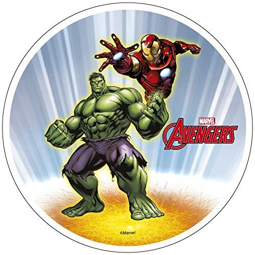 Avengers Iron Man Hulk - Decoración comestible para tarta (20 cm) Producto con licencia. Modecor.