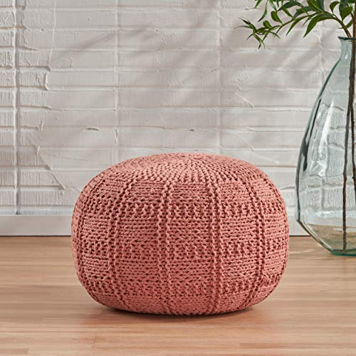 Christopher Knight Home Valentine Hand Knit Fabric Pouf (Coral)