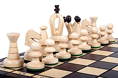 "The Veles Chess Set, Wooden Handmade European Chess Pieces, 2.3"" Tall King with Storage Chess Board 11-3/4"" x 11-3/4"", ChessCemtral's Carpathian Collection Board Game"