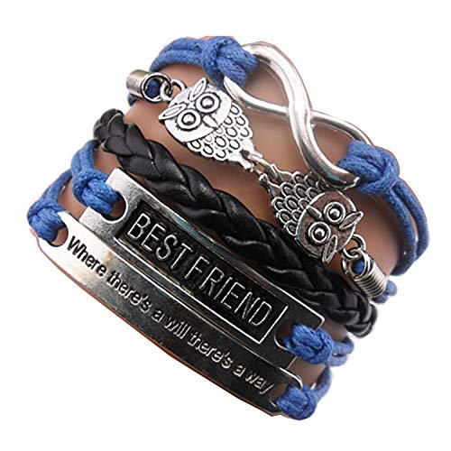 Ac Union Owls Best Friend Where There's a Will There's a Way Infinith Charm Friendship Gift Handmade Leather Bracelet - Blue
