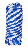 Utility rope Paracord Nylon Twine - 12 strands Diamond solid Braided, 100% full polypropelene braided,Hank package Braided Polypropylene, (1/2 inch by 50ft, Blue mixed White)