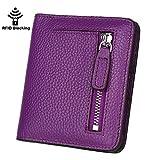 GDTK RFID Blocking Wallet Women's Small Compact Bi-fold Leather Purse Pocket Wallet (Purple)