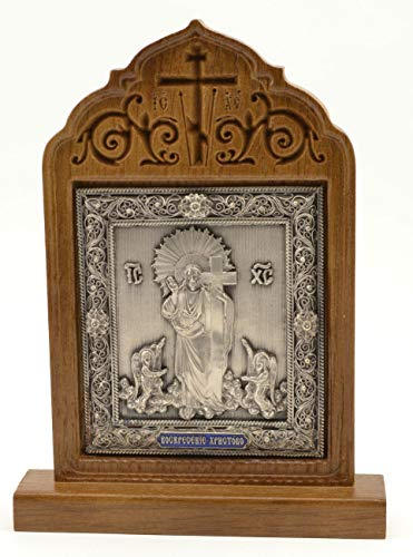 (Workshop Archangel Orthodox Silver Plated Religious Icon Resurrection of Jesus Gift Christian in Wooden Oak kiot 5.9 Inch.)