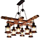 Barn Wood Coffee Table Diy Adjustable Retro Wood Pendant Light, Creative Home Loft Fixture Ceiling Lamp, Industrial Style Decorative Chandelier