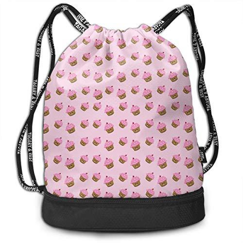 - Gymsack Pink Cupcakes Print Drawstring Bags - Simple Bundle Pocket Backpack