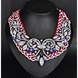 style12 purple+white - Women Fashion Pendant Crystal Flower Choker Chunky Statement Chain Bib Necklace