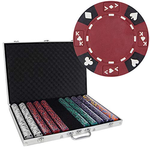 (Brybelly 1,000 Ct Ace King Suited Poker Set - 14g Clay Composite Chips withAluminum Case, Playing Cards, Dealer Button)