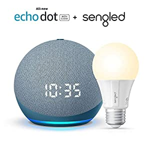 Best Epic Trends 512GzFPyDvL._SS300_ All-new Echo Dot (4th Gen) with clock - Twilight Blue - bundle with Sengled Bluetooth bulb (Certified for Humans product…