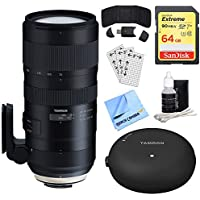Tamron SP 70-200mm F/2.8 Di VC USD G2 Lens (A025) for Canon (AFA025C-700) + Accessory Bundle Includes, Tamron TAP-In Console Lens Accessory, 64GB Memory Card, Card Reader, Card Wallet & More