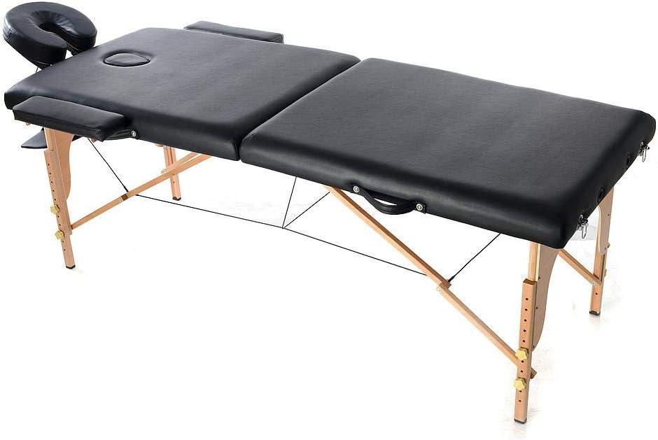 Todeco - Table de Massage Pliante, Table Professionnelle pour Thérapie - Dimensions: 186 x 71 x 62 cm - Hauteur: Réglable 62-83 cm - Noir, avec repose-tête, accoudoir, et sac de transport, Pliable en 2 parties, Pieds en bois