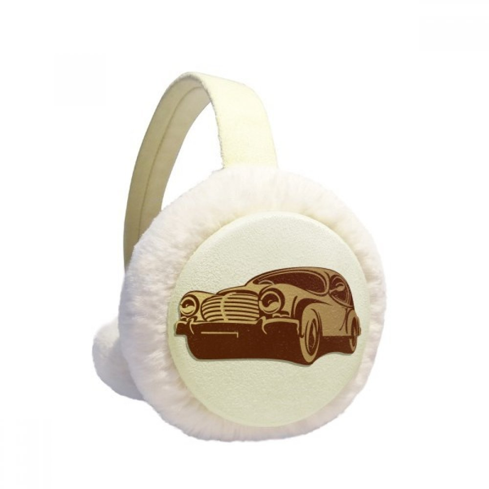 Deep Red Classic Cars Silhouette Pattern Winter Earmuffs Ear Warmers Faux Fur Foldable Plush Outdoor Gift