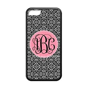 White Infinity Pattern in The Black Background Palace Style Pink Monogram Design Custom Luxury Cover Case with Best Silicon Rubber For Iphone 5C