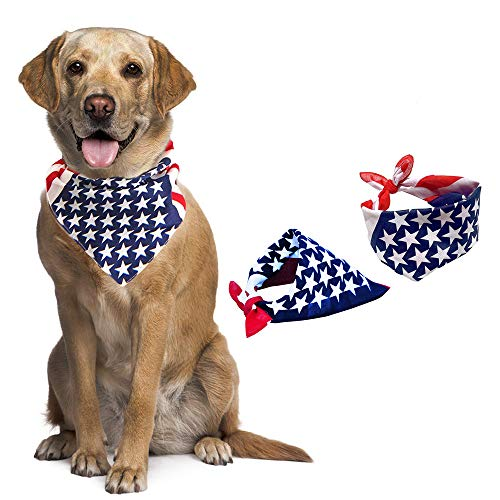 Scarf Dog Clothing - JAYSLE Dog Bandana,American flag Bandana Pet Dog Scarf USA Flag Dog Bib 2 Pack Bandana for Dogs Large or Small