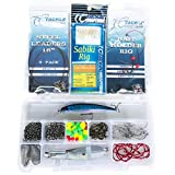 Saltwater Surf Fishing Gear Tackle Box Set - 146 pcs, Hooks, Stainless Steel Leaders, Surf Fishing Rigs, Sabiki, Swivels, Minnow, Spoon Lure,Tackle Box Made In The USA