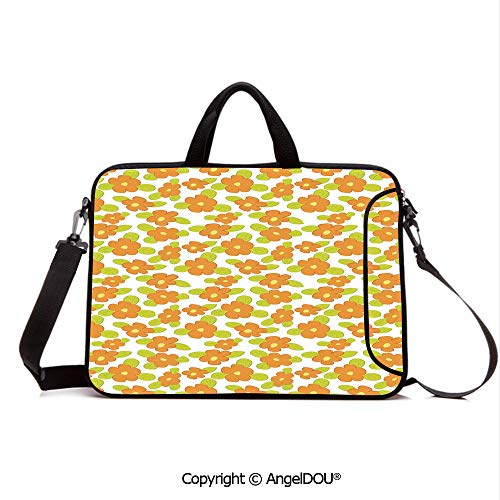 AngelDOU Laptop Shoulder Bag Waterproof Neoprene Computer Case Kids Theme Cute Girlish Pattern with Doodle Flowers and Green Leaves Decorative with Handle Adjustable Shoulder Strap and External Side
