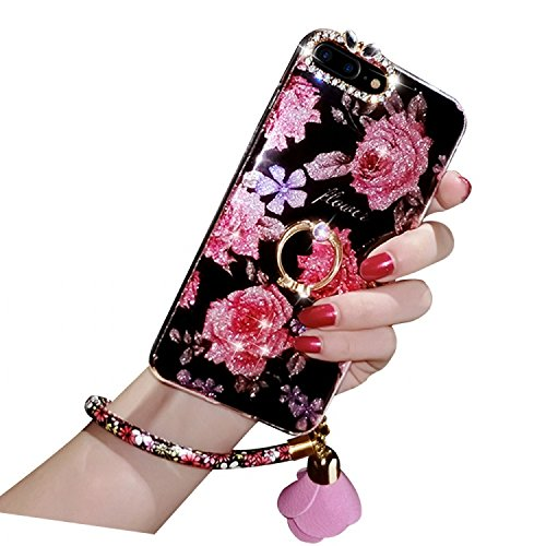 Diamond iPhone 7 Plus Case, iPhone 7 Plus Cover, Bonice Bling Glitter Luxury Crystal Rhinestone Soft Rubber Bumper Full Body Case with 360 Ring Stand Holder for iPhone 7 Plus - Flower 02