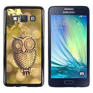 TopCaseStore / la caja del caucho duro de la cubierta de protección de la piel - Design Gold Owl - Samsung Galaxy A3 SM-A300