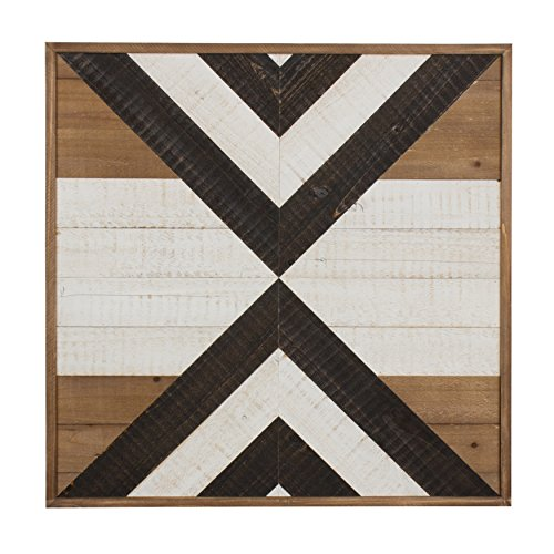 Kate and Laurel Baralt Shiplap Wood Plank Art, Black, White and Rustic Brown For Sale