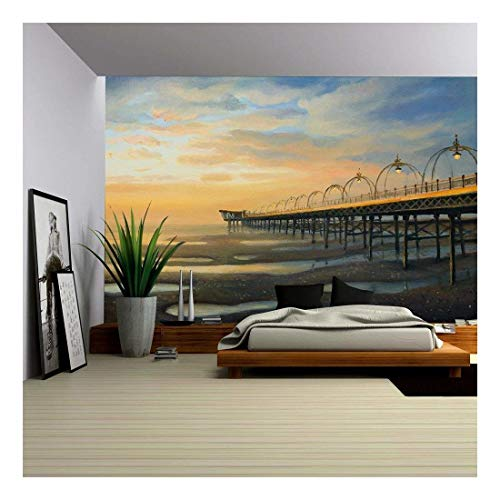 (wall26 - an Oil Painting on Canvas of One of The Strongest Outflows in The History of Southport in The United Kingdom - Removable Wall Mural | Self-Adhesive Large Wallpaper - 66x96 inches)