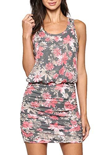 LaClef Women's Mini Ruched Tank Shift Dress (Grey Flower, L)