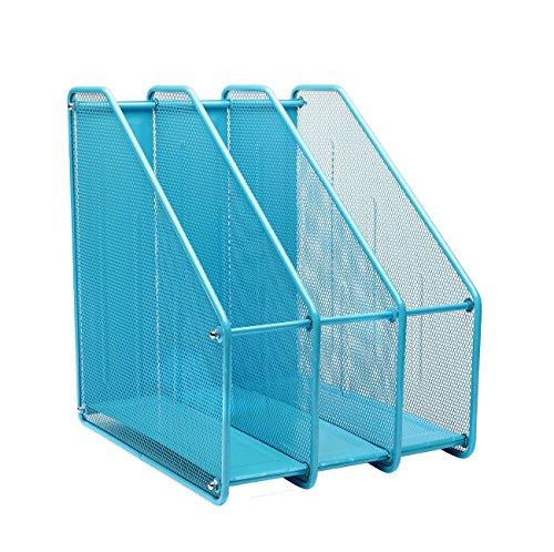 Exerz Mesh Magazine Holder Rack Wire Metal Triple Desktop - 3 Compartments File/Documents/Notebooks/Folder Paper/Desk Organizer Stand Office Study (EX3212 Blue)