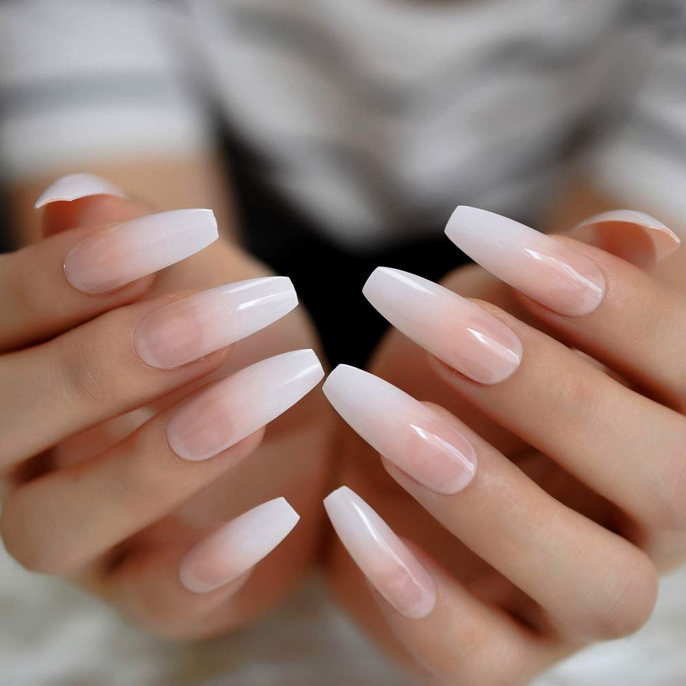 Amazon Com Coolnail Ombre Gradient Pink Nude White French Ballerina Press On False Nails Extra Long Natural Coffin Uv Gel Glue On Fake Fingers Nails Beauty