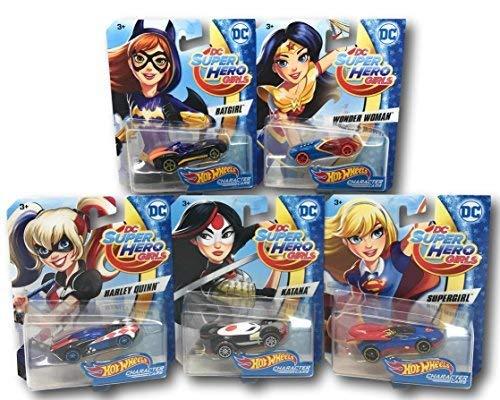 Hot Wheels DC Super Hero Girls Character Cars BatGirl, Wonder Woman, Harley Quinn, Katana, and SuperGirl Bundle