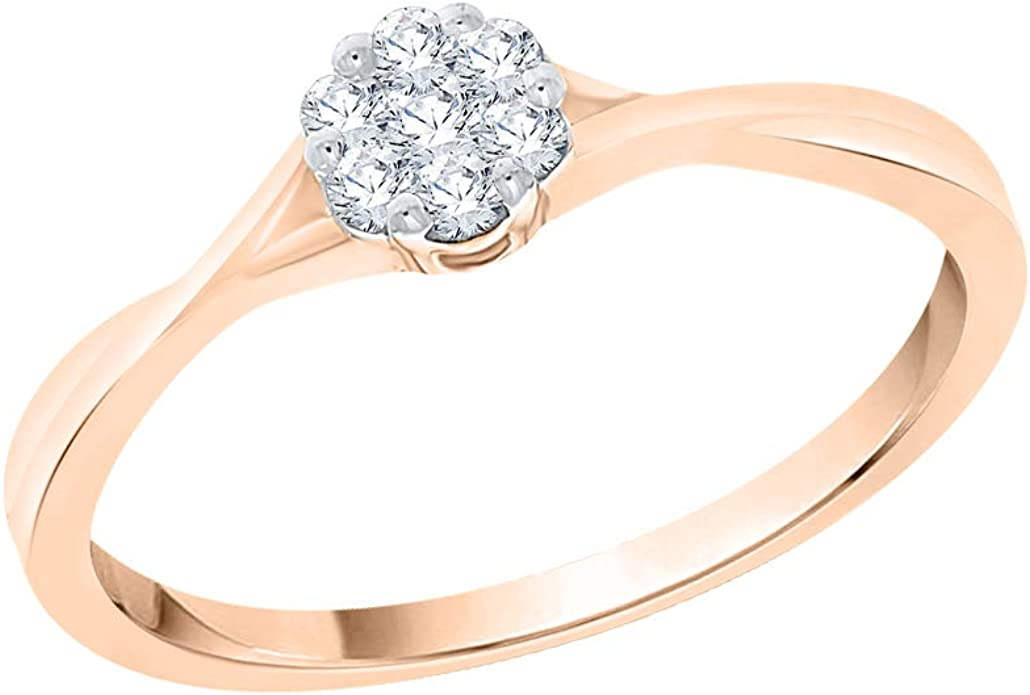 1//6 cttw, Diamond Wedding Band in 10K Pink Gold G-H,I2-I3 Size-9