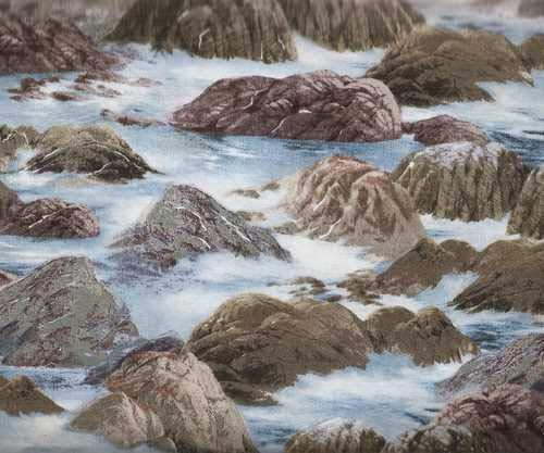 Wind and Waves Water Rocks Ocean Wilmington Fabric
